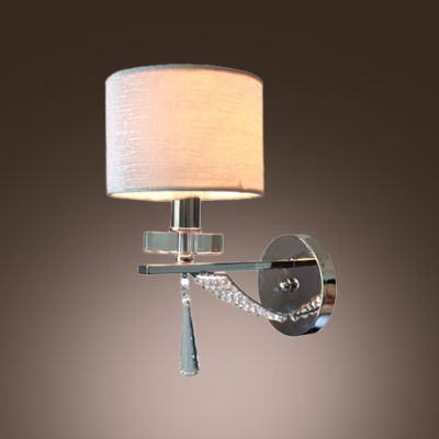 Sparkling Modern Wall Sconce Makes Great Decor with Faceted Crystal Drop and Elegant Silver Fabric Shade