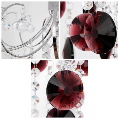 Sparkling Red Crystal Waterfall Metal Scrolls 15.7