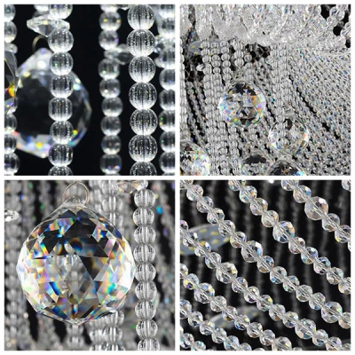 Spectacular Clear Crystal Strands Cascades and Crystal Balls Rainfall Gorgeous Flush Mount