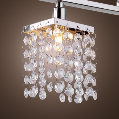 Spectacular Polished Chrome Island Chandelier Offers Fabulous Strands of Clear Crystal