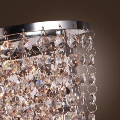 Striking Wall Sconce Exudes Contemporary Sparkle with Polished Chrome and Pink Crystal Beads