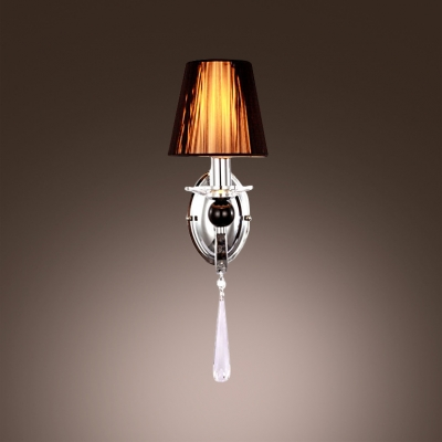 Tempting Modern One Light  Wall Light Fixture Offers Gleaming Chrome Finish and Faceted Crystal Drop