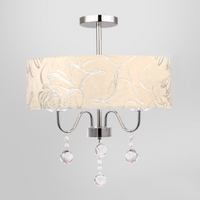 threelight romantic rose details drum shade dropling crystal balls mini chandelier ceiling light - Drum Shade