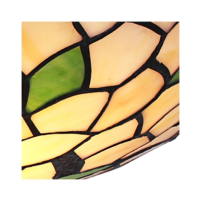 Two Lights Green Leaves Motif Flush Mount Ceiling Light in Tiffany