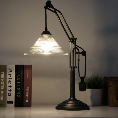 Farmhouse Style 1 Light Single Light LED Table Lamp with Glass Shade