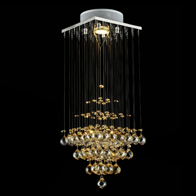 Warm and Chic Amber Crystal Drop Cloud Brilliant Design Chandelier Lights