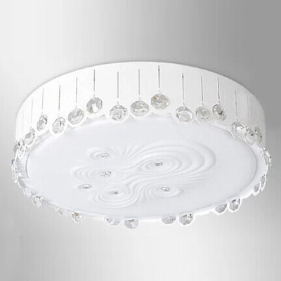 Warm and Soft Round Tempered Glass LED Flush Mount in Modern Style with Faceted Crystal Beads
