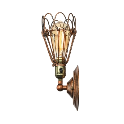 Antique Copper  Finished Warehouse Industrial LED Wall Light