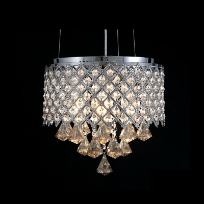 "Image of ""11.8""""Wide Criss-Cross Metal Shade Modern and Elegant Crystal Accented Pendant Light"""