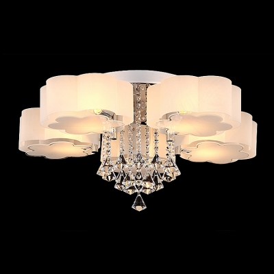 Beautiful Flower Shade 5-Light Flush Mount Light Hanging Clear Crystal Droplets