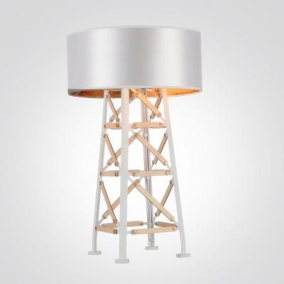 Black/Sliver Designer Table Lamp with Ladder Base Drum Shade
