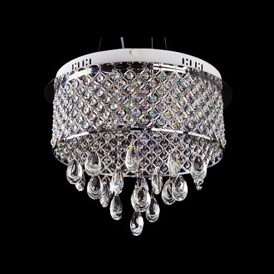 Brilliant and Graceful Pendant Light Chandelier Finished in Glistening Chrome Adorned with Enchanting Crystals