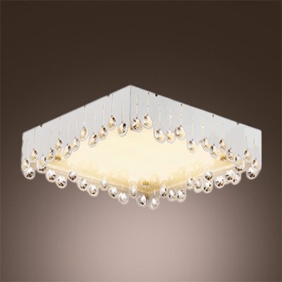 Brilliant Design Crystal Beads Embedded Romantic White Shade Flush Mount Lighting HL360343 фото