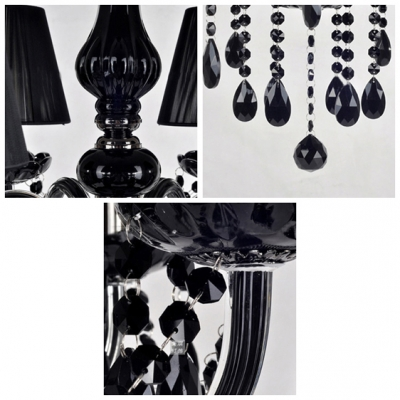 Charismatic Four Lights Jet Black Crystal Droplets and Shaded  Chandelier for Dining Room