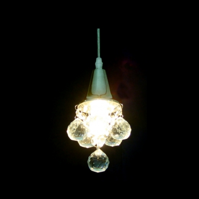 Christmas Hat Like Mini Pendant light Adorned with Dazzling Crystal Balls and Gleaming Polished Chrome Finish