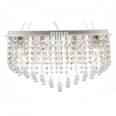 Clear Crystal and Polished Chrome Finish Combine yo Create Glittering Large Contemporary Chandelier Design