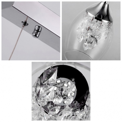 Contemporary Encircled Three Lights Pendant Adorned with Dazzling Crystal