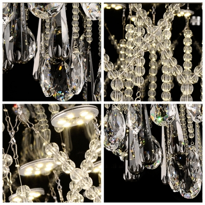 Crystal Strands and Large Raindrops Accented 11-Light Large Pendant Light