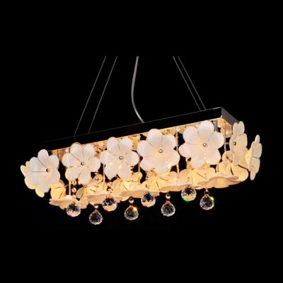 Delicate Flower Adorned Frame and Clear Crystal Drops Formed Splendid Pendant Light
