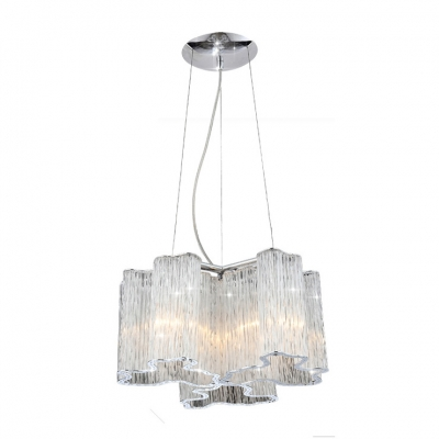 Distinctive Unique Style Pendant Features Mini Crystal Beads and Gleaming Polished Chrome Finish