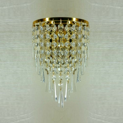 Enchanting Gold Finish Base Add Glamour to Delightful One-light Wall Washer with Strands of Shimmering Crystal Beads