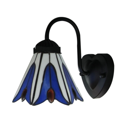 Euro Design Black Finish Bathroom Lighting with Tiffany Dark Blue Flower Shade