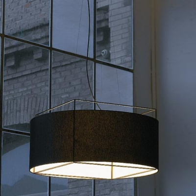 Fabric Drum Shaded With Wrought Iron Frame Large Designer Pendant Light