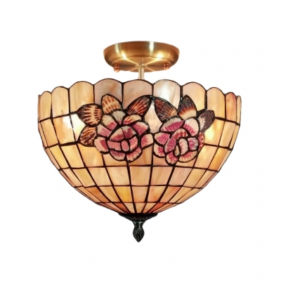 Flower patterned two lights tiffany semi flush mount for Shell ceiling light fixtures