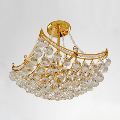 Golden Finish and Stunning Crystal Globes Hang Together Semi-Flush Mount Ceiling Light