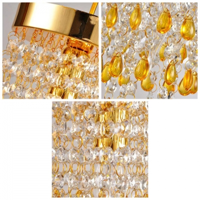 Golden Finished Majestic Crystal Beaded Strands Flush Mount Hanging Beautiful Yellow Crystal Drops