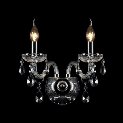 Graceful Curving Crystal Arms and Clear Glass Bobeche Add Glamour to Stunning Wall Sconce Offers Welcomed Addition For Home Decor