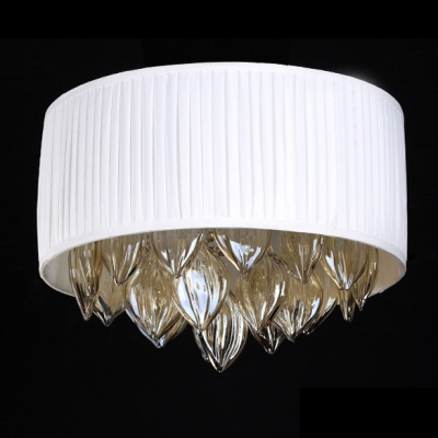 Large Amber Crystal Drops White Hand Made Fabric Shade 21.6
