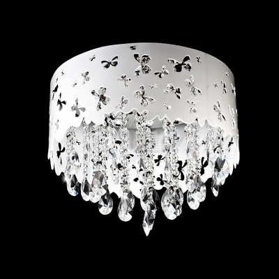 LED Crystal Flush Mount Ceiling Light Shine with Glittering Hand Cut Crystal Beads