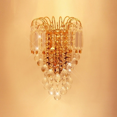 Lustrous Low-voltage Luminaire Wall Sconce Composed of  Clear Crystals and Graceful Scrolls
