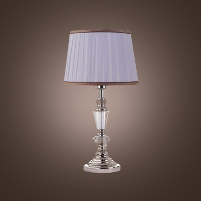 Modern and Glamorous Style Mixed into Crystal Column Table Lamp Topped With Purple Pleated Fabric Shade