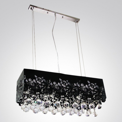 Mysterious Black Shade with Flower Motif and  Clear Crystal Balls Add Elegance to Stunning Pendant Light