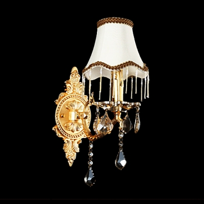 Outstanding Traditional Wall Light Fixture Adorned with Delicate Gold Finish Frame and White Fabric Shade with Black Edging