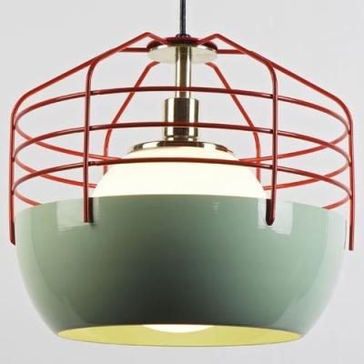 Red Iron Cage Designer Mini Pendant Lighting