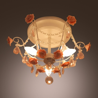 Romantic and Beautiful Pink Floral Detailed and Clear Crystal Strands Semi Flush Mount