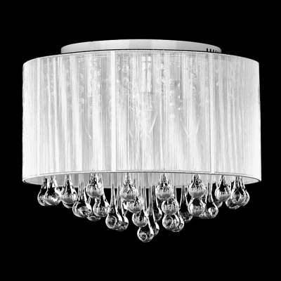 Good ... Soft Sheer Drum Shade 4 Light Elegant Flush Mount Hanging Clear Crystal  Teardrops