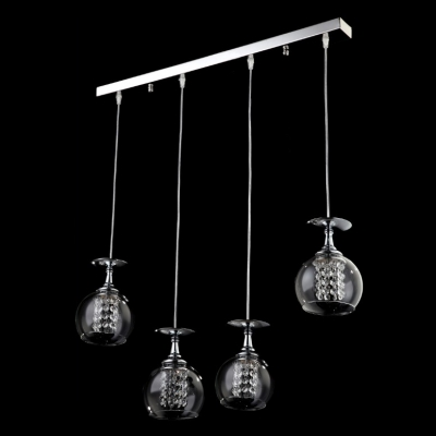 Sparkling and Elegant Bar Base Four Globes Multi-light Pendent Lighting Fixture HL295105 фото