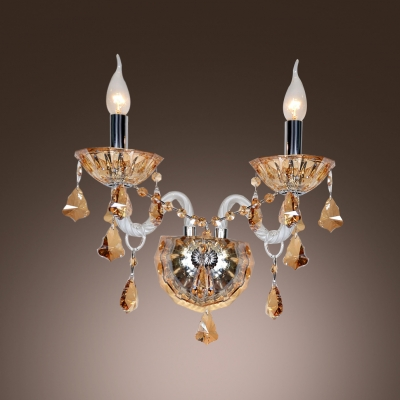 Striking and Amazing Wall Sconce Completed with Gold Finish Pairs with White Curving Scrolling Arms