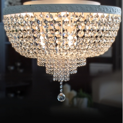 Stunning Crystal Beaded Bowl Flush Mount Light With 4
