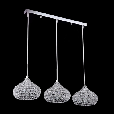 Three Bowl Crystal Beaded Shade Glittering Crystal Accented Multi-Light Pendant