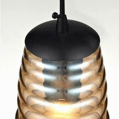 Vintage Glass Pendant Light In Amber Color