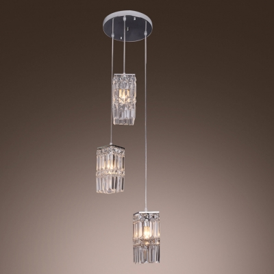 Warm Light and Polished Chrome Canopy Add Charm to Contemporary Rectangular Multi Light Pendant
