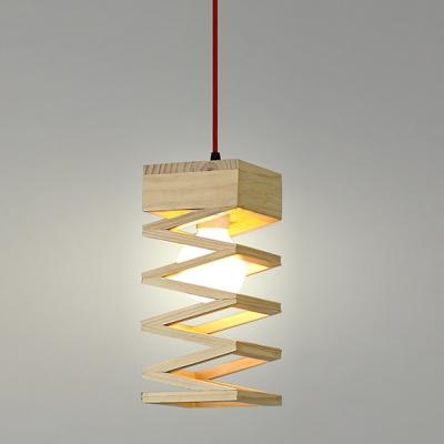 "Single Light Spiral Design Mini Pendant Light With Round Wood Canopy11""High"