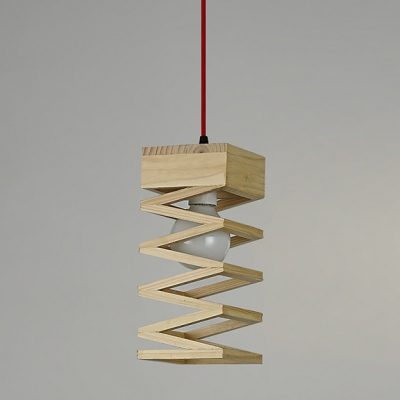 single light spiral design mini pendant light with round wood