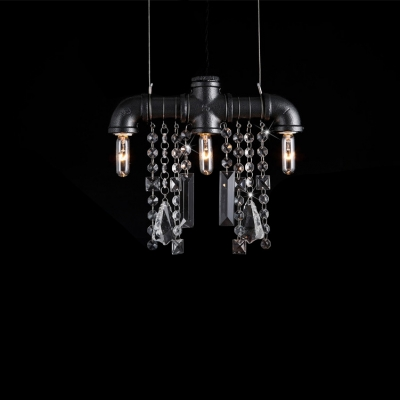 Iron Bar With Crystal Droplet Mini Pendant 3-light