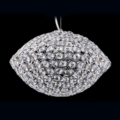 All Sparkling Crystal Beaded Bold Oval Large LED Pendant Lighting
